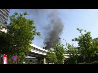 首都高竹橋ジャンクション ダンプカー炎上事故1