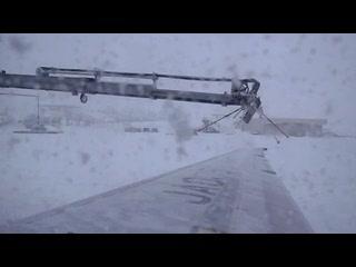 雪国の離陸前作業