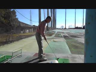 ゴルフ 8番アイアンのドローボールのスイング2016.12.11