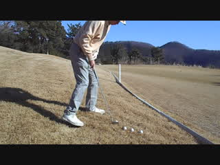 ゴルフ SWの前下がりのライからアプローチ練習2016.12.18