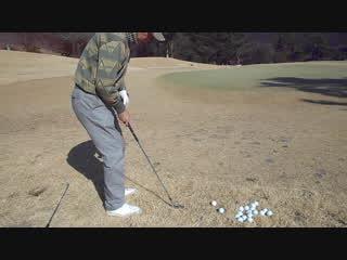 ゴルフ PWのアプローチショット練習2017.1.22