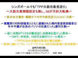 【竹中平蔵とASKAの接点】TPP交渉混迷へ(1/4)【シンガポールでも合意無し】