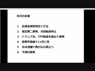 【金八アゴラ(2016/11/25)】(7)今週の政局★林田力さん敗訴【佼成病院裁判】